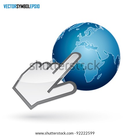 Icon of left-handed cursor on blue earth, with shadow on white background - stock vector