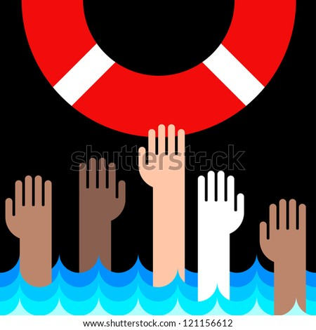 icon of life buoy and hands in water - stock vector