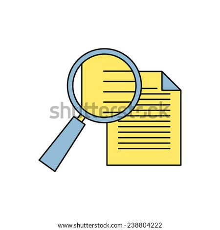 icon of loupe document - stock vector