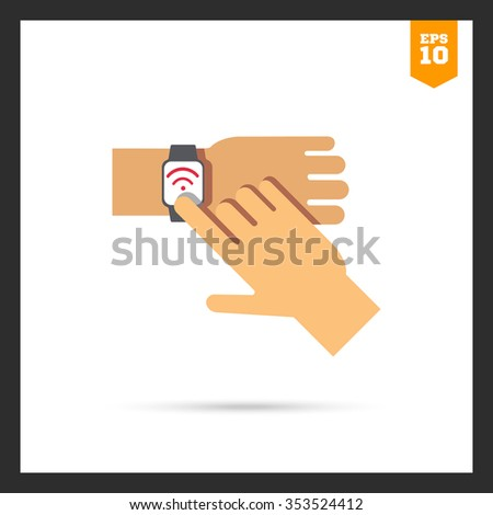 Icon of man's hand touching smartwatch display