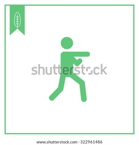 Icon of man silhouette doing karate - stock vector