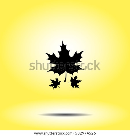 Icon of maple leaf on yellow background. All elements maple leaf for web design and decoration of greeting cards.