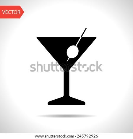 icon of martini glass - stock vector
