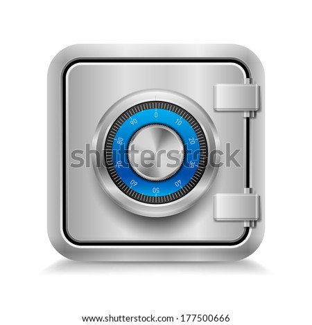 Icon of metal safe with mechanical code lock on white background - stock vector