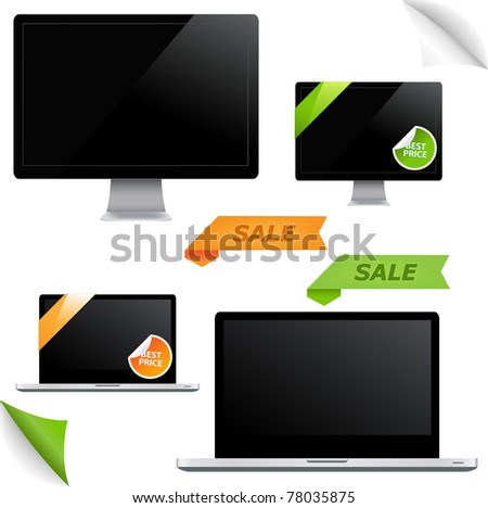 Icon Of Monitor With Leaves Isolated On White Background, Vector Illustration - stock vector