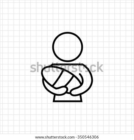 Icon of mother holding newborn baby - stock vector