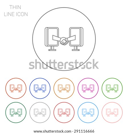 Icon of online negotiation concept, two people shaking hands through computer monitors - stock vector