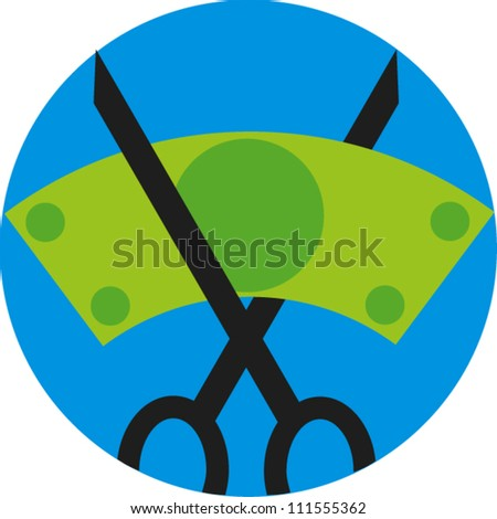 Icon of pair of scissors cutting a dollar bill - stock vector