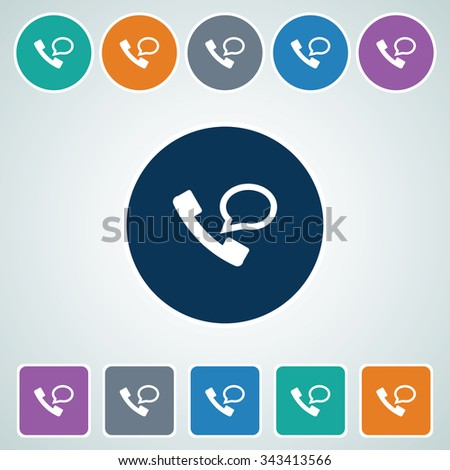 Icon of Phone Receiver & Comments  in Multi Color Circle & Square Shape. Eps-10. - stock vector