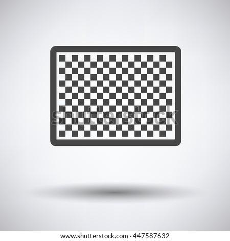 Icon of photo camera sensor on gray background, round shadow. Vector illustration. - stock vector