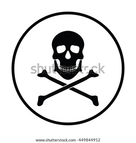 Icon of poison from skill and bones. Thin circle design. Vector illustration.
