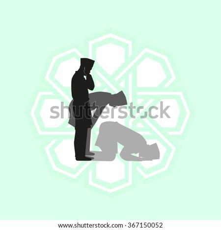 icon of praying muslim man - stock vector