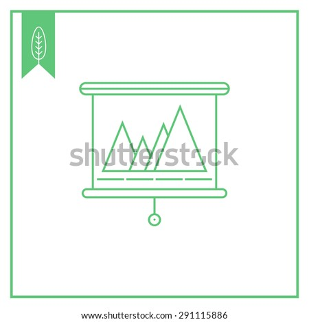 Icon of projection screen with graph - stock vector