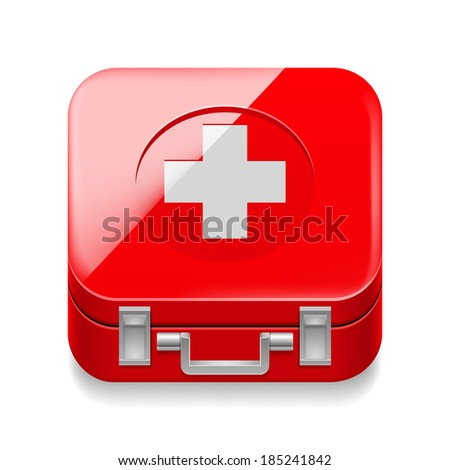 Icon of red first-aid kit on white background - stock vector