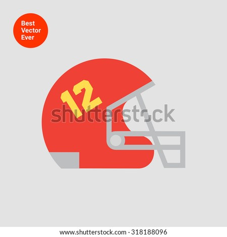 Icon of red rugby helmet with grid and number twelve - stock vector