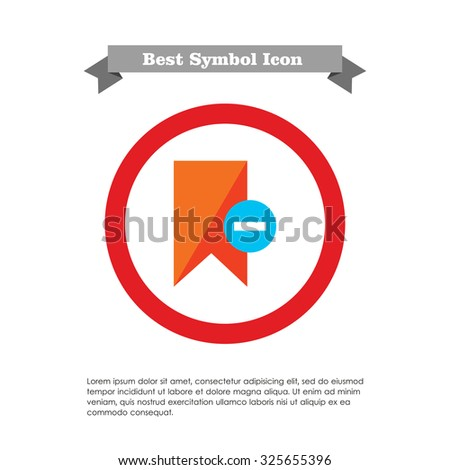 Icon of red tag sign with minus depicting Remove from tags - stock vector