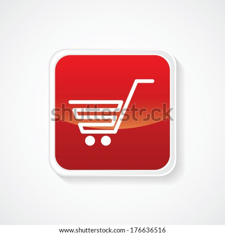 Icon of Shopping Trolley on Red Glossy Button. Eps-10