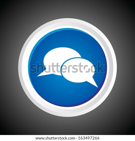 Icon of Speech Bubble On Button with Black Background. Eps-10 - stock vector