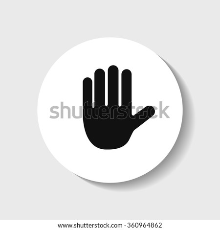 Icon of Stop sign in the form of hands.