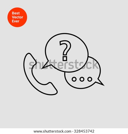 Icon of telephone receiver with speech bubbles and question mark