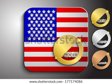Icon of the American flag with gold silver and bronze medal