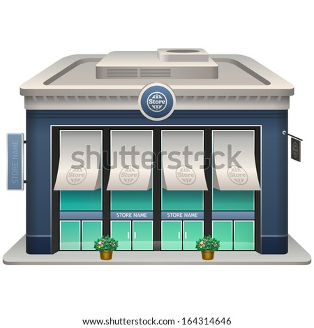 Icon of the facade of a shop store or cafe. Eps 10. - stock vector