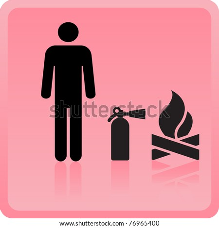 Icon of the person with the fire extinguisher near a fire - stock vector