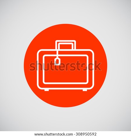 Icon of travel suitcase with tag - stock vector