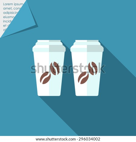 Icon of two disposable coffee cups with cover and coffee beans picture