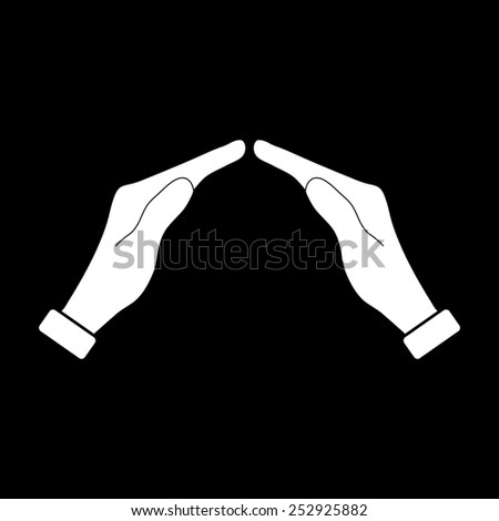 Icon of two hands  on a black background - stock vector
