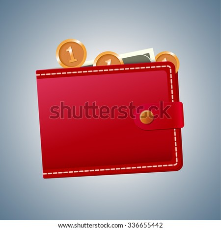 Icon of wallet with money in it