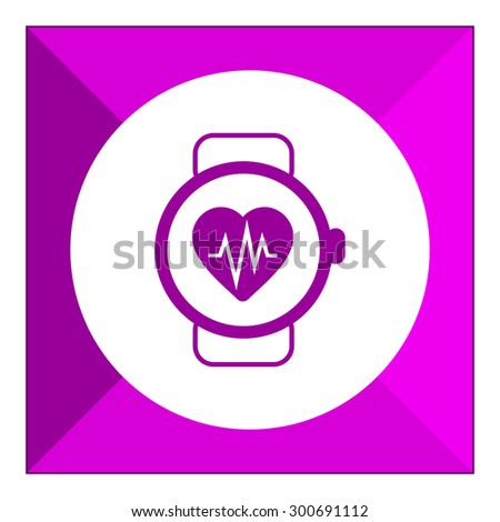 Icon of watch with heart rate monitor - stock vector