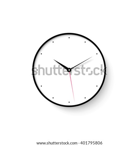 Icon of white clock face with shadow on wall background. Vector Illustration - stock vector