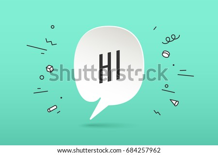 Icon of white paper cloud talk with text Hi or Hello for communication, greetings, fun. Poster with bubble, text message, explosion graphic elements and shadow on color background. Vector Illustration