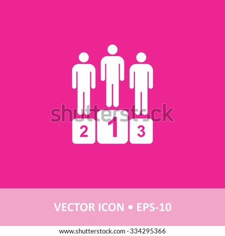 Icon of Winners Podium on Magenta Color Background. Eps-10. - stock vector