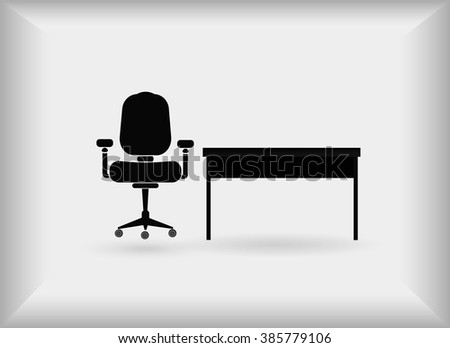 Icon Office. Table and chair. Vector.