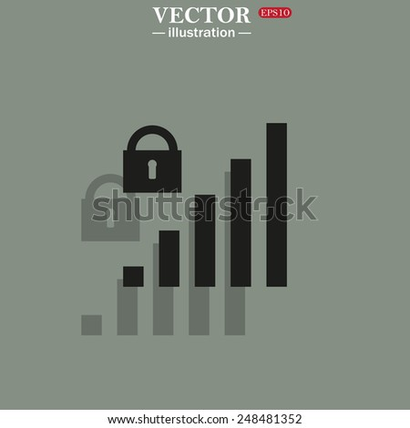Icon on a green background with shadow. signal strength indicator, closed access , vector illustration, EPS 10 - stock vector