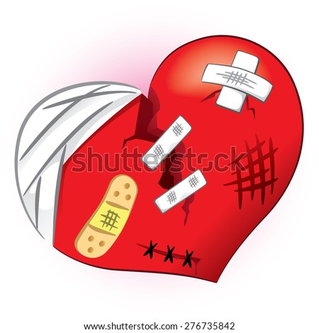 Icon or symbol of a broken heart and bruised. Ideal for informational and institutional related to love or boyfriend. - stock vector
