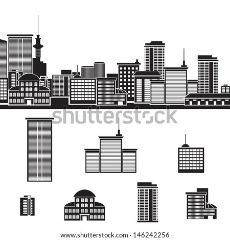 icon: panorama of the city. - stock vector