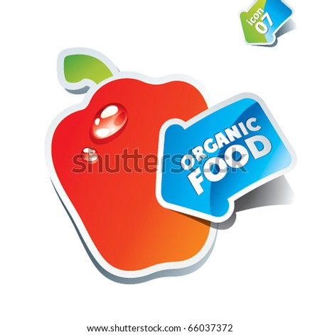 Icon paprika with an arrow by organic food. Vector illustration. - stock vector