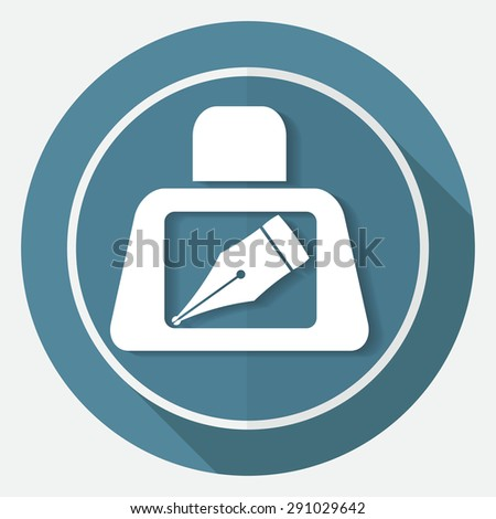 Icon pen on white circle with a long shadow - stock vector