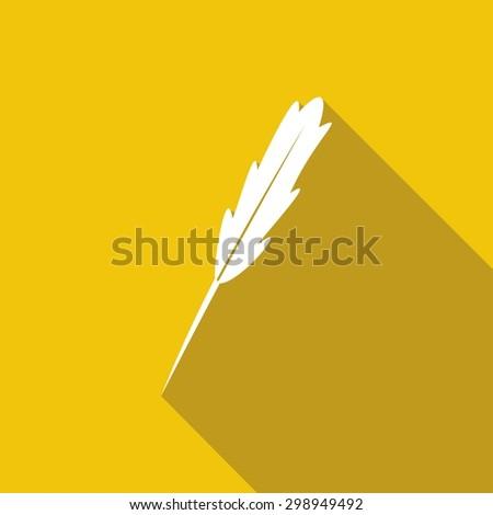 Icon pen with a long shadow - stock vector