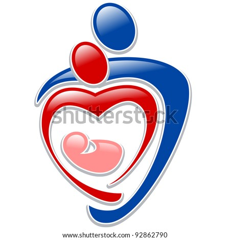 icon person - symbol family holding hands in the shape of a heart - stock vector