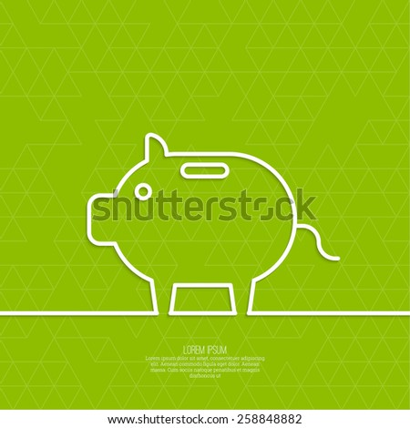 Icon Pig piggy bank. Symbol of conservation and enhancement funds - stock vector