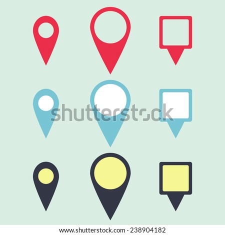 icon pointer for maps, the point location of the object, vector illustration - stock vector