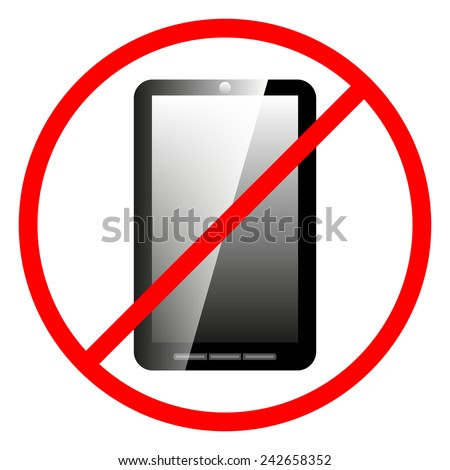Icon prohibiting the use of a mobile phone, vector illustration.