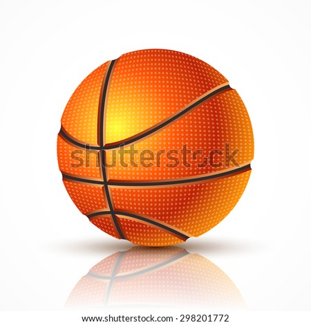 Icon realistic basketball. Sports picture of a basketball. Basketball ball on a white background. - stock vector