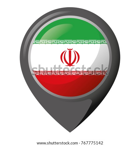 Icon representing pin of location with the flag of Iran. Ideal for catalogs of institutional materials and geography