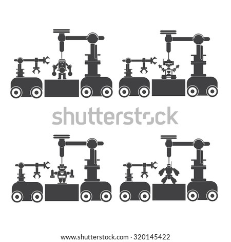 icon robot  on robot Creative. planting, building, construction, construction, automation, production, labor. - stock vector