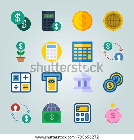 Icon set about Currency. with dollars, bank and currency